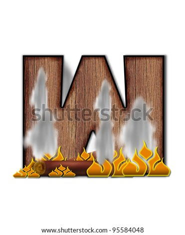 The letter M, in the alphabet set Burning, is created to look like a piece of lumber surrounded by flames and smoke. Wood grained letter is outlined in black.