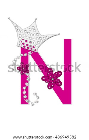 "The letter N, in the alphabet set ""Pageant Queen"" is bright pink and outlined with white.  Letter is decorated with crown, flower, and diamonds."