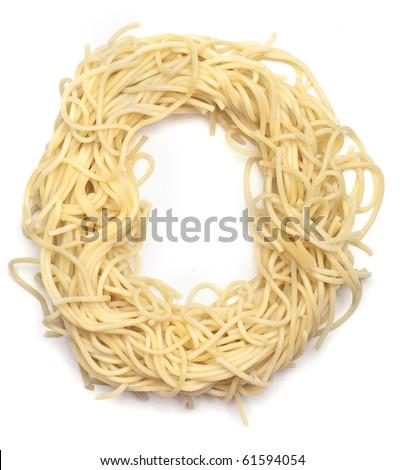The letter O in spaghetti - stock photo