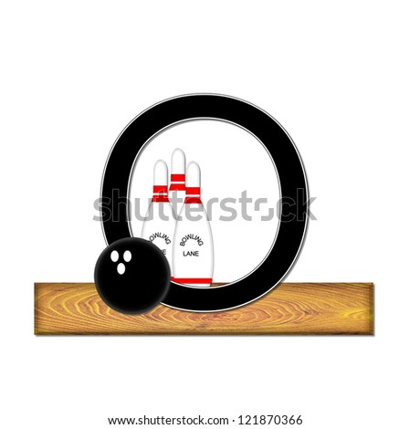 "The letter O, in the alphabet set ""Bowling"", is black with white border.  Bowling ball and pins sit on wooden lane with letter."