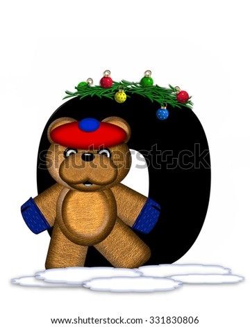 """The letter O, in the alphabet set """"Teddy Christmas Boughs,"""" is black and sits on pile of snow.  Teddy Bear wearing cap and mittens, decorates letter with Christmas boughs and ornaments. - stock photo"""