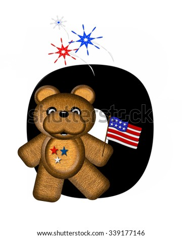 "The letter O, in the alphabet set ""Teddy 4th of July,"" is black.  Brown teddy bear holds American flag.  Fireworks in red, white and blue explode around him."