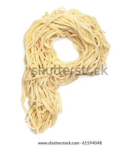 The letter P in spaghetti - stock photo