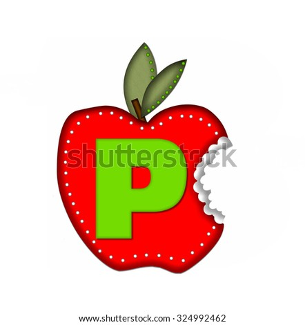 "The letter P, in the alphabet set ""Delicious Apple Bite,"" is bright green.  Letter is sitting on a large red apple from which a bite has been taken.  Apple is encircled with white polka dots. - stock photo"