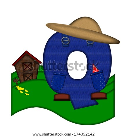 """The letter Q, in the alphabet set """"Down on the Farm,"""" is dressed in denim overalls complete with pockets.  Letter sits on farm scene with rolling hills, barn, and ducks. - stock photo"""