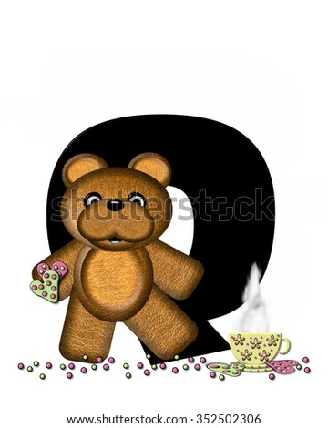 """The letter Q, in the alphabet set """"Teddy Tea Time,"""" is black.  Teddy bear enjoys a cup of hot tea with heart shaped and frosted cookies.  Candy sprinkles cover floor. - stock photo"""