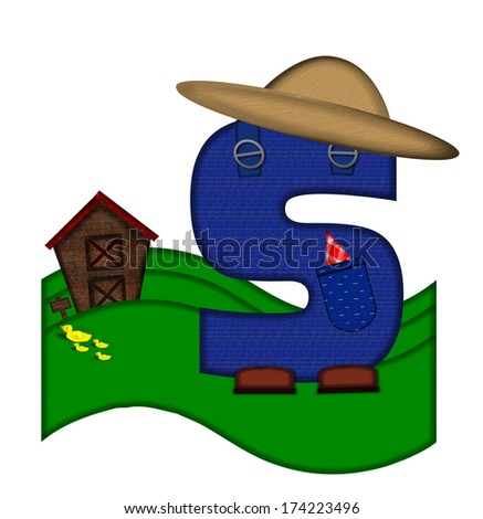 """The letter S, in the alphabet set """"Down on the Farm,"""" is dressed in denim overalls complete with pockets.  Letter sits on farm scene with rolling hills, barn, and ducks. - stock photo"""