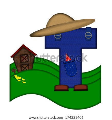"""The letter T, in the alphabet set """"Down on the Farm,"""" is dressed in denim overalls complete with pockets.  Letter sits on farm scene with rolling hills, barn, and ducks. - stock photo"""