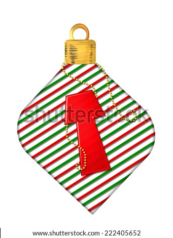 "The letter T, in the alphabet set ""Pinstripe Ornament"", is red.  Letter sits on red and green striped Christmas ornament. - stock photo"