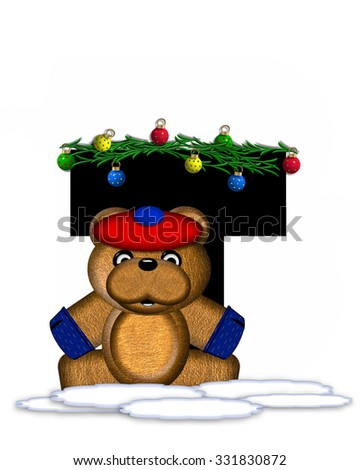"""The letter T, in the alphabet set """"Teddy Christmas Boughs,"""" is black and sits on pile of snow.  Teddy Bear wearing cap and mittens, decorates letter with Christmas boughs and ornaments. - stock photo"""