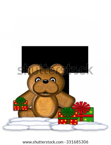 """The letter T, in the alphabet set """"Teddy Christmas,"""" is black and sits on pile of snow.  Teddy Bear and presents decorate each letter. - stock photo"""