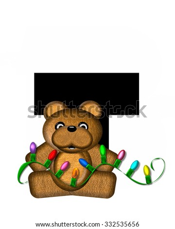 """The letter T, in the alphabet set """"Teddy Christmas Lights,"""" is black. Teddy Bear holds a string of Christmas lights and decorates letter. - stock photo"""