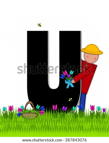 "The letter U, in the alphabet set ""Children Tulip Patch"" is black outlined with white.  Children hold tulip bouquet and stand in colorful tulip patch. - stock photo"
