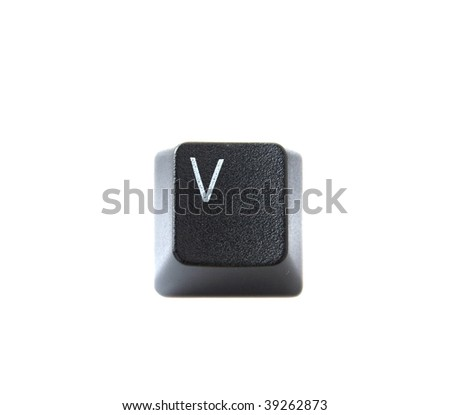 The letter V from a black computer keyboard