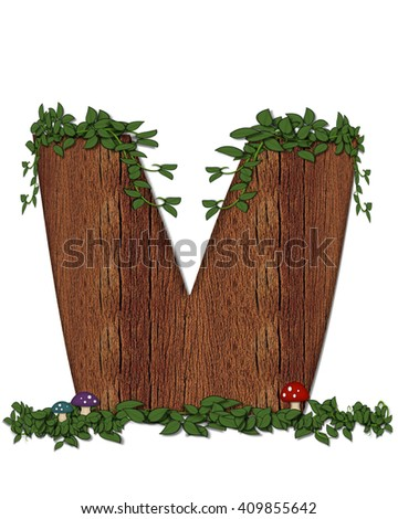 """The letter V, in the alphabet set """"Log"""" is filled with wood texture.  Vines and colorful mushrooms grow around letter.  Some letters have knot holes with peeking eyes. - stock photo"""