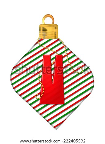 "The letter V, in the alphabet set ""Pinstripe Ornament"", is red.  Letter sits on red and green striped Christmas ornament. - stock photo"