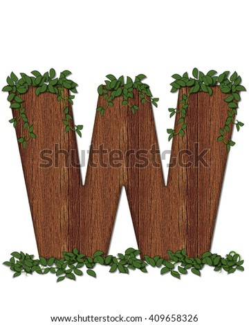 "The letter W, in the alphabet set ""Deep Woods"" is filled with wood texture and has vines growing all over it. It coordinates with the alphabet set Deep Woods Owl."