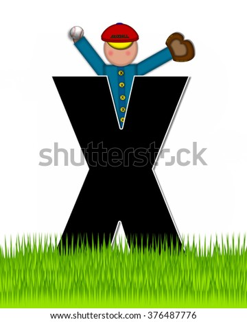 """The letter X, in the alphabet set """"Children Baseball"""" is black and trimmed with white.  Child is playing baseball in a field of green grass.  Equipment includes bat, ball and glove. - stock photo"""