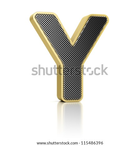 The letter Y as a perforated metal object over white