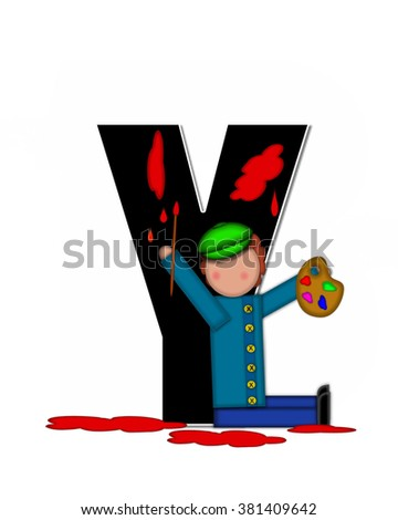 "The letter Y, in the alphabet set ""Children Creative,"" is black and outlined with white.  Child holds artist palette and paintbrush as she splashes paint on letter and floor."
