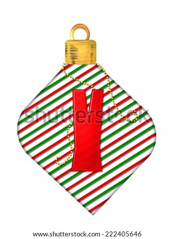 "The letter Y, in the alphabet set ""Pinstripe Ornament"", is red.  Letter sits on red and green striped Christmas ornament. - stock photo"