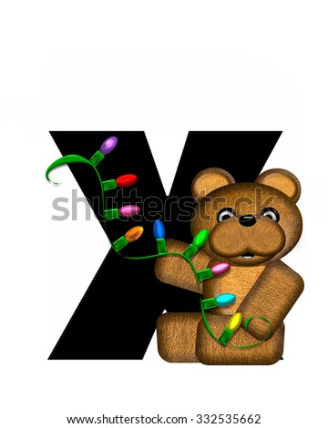 """The letter Y, in the alphabet set """"Teddy Christmas Lights,"""" is black. Teddy Bear holds a string of Christmas lights and decorates letter. - stock photo"""