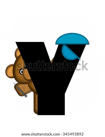 "The letter Y, in the alphabet set ""Teddy Dental Checkup,"" is black.  Teddy bear represents a dentist and holds a hyperdermic needle. - stock photo"