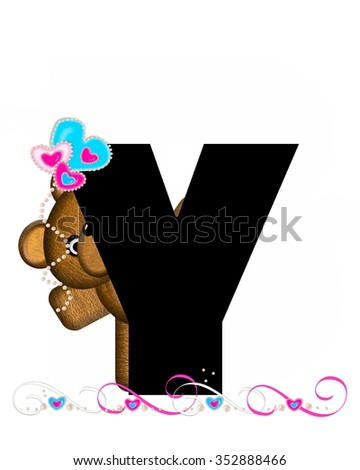 """The letter Y, in the alphabet set """"Teddy Valentine's Cutie,"""" is black.  Brown teddy bear holds heart shaped balloons in pink and blue.  String of pearls serve as string. - stock photo"""