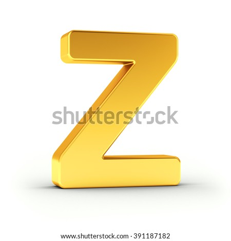 The Letter Z as a polished golden object over white background with clipping path for quick and accurate isolation.