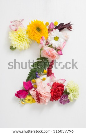 The letter z consists of flowers. Flower alphabet - stock photo