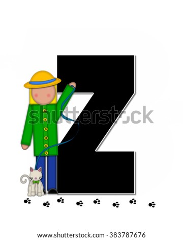 "The letter Z, in alphabet set ""Children My Pets"" is black.  Letters are decorated with child holding leash to pet, cat or dog.  Black footprints form path in front of letter."