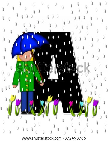 "The letter Z, in the alphabet set ""Children April Showers"" is black and trimmed with white.  Child holds umbrella while rain drops fall on her and Spring tulips. - stock photo"