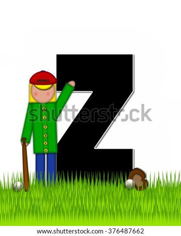 """The letter Z, in the alphabet set """"Children Baseball"""" is black and trimmed with white.  Child is playing baseball in a field of green grass.  Equipment includes bat, ball and glove. - stock photo"""