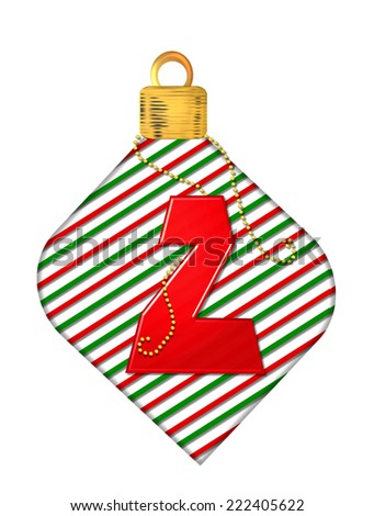 "The letter Z, in the alphabet set ""Pinstripe Ornament"", is red.  Letter sits on red and green striped Christmas ornament. - stock photo"