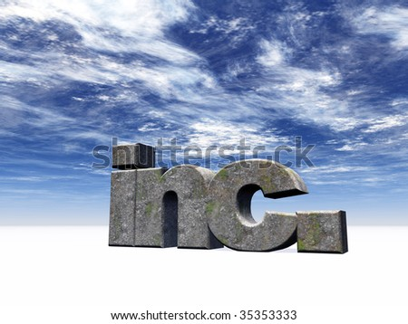the letters inc. in front of blue cloudy sky - 3d illustration