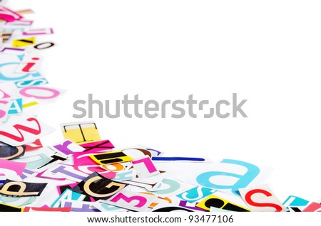 The letters which have been cut out from newspapers - stock photo