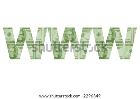 "The letters ""www"" filled with money."