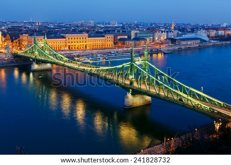 The Liberty Bridge in night. Budapest, Hungary - stock photo
