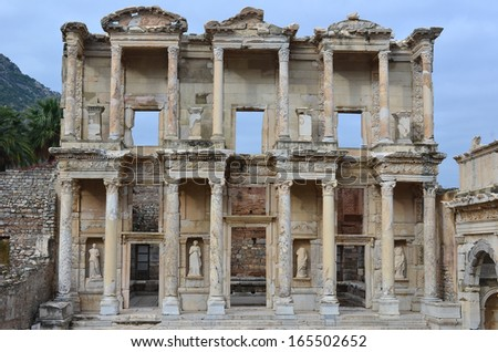 the library of Celsus in Ephesos, Turkey. One of the best preserved examples of an ancient roman building with strong greek influences and a symbol of the beautiful architecture of the town - stock photo