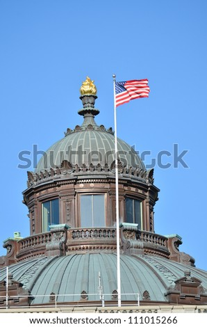 The Library of Congress building dome detail - Washington DC United States - stock photo