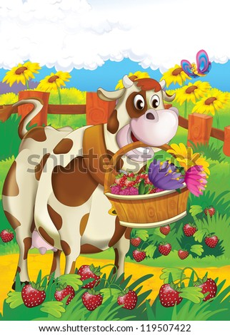 The life on the farm - illustration for the children - stock photo