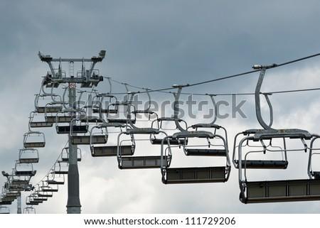 The lift for mountain skiers in the Carpathians. Bukovel, Ukraine - stock photo