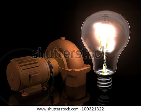 the light bulb and the motor