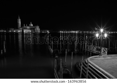 The Light of Venice Long exposure By Night. Blurred motion on curtain due to sea movement.   - stock photo