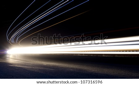 the light trails on the street