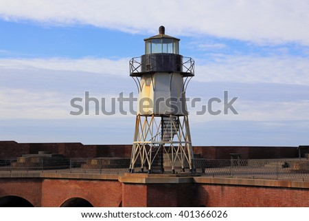 The lighthouse at Fort Point, a National Historic Site in California. - stock photo