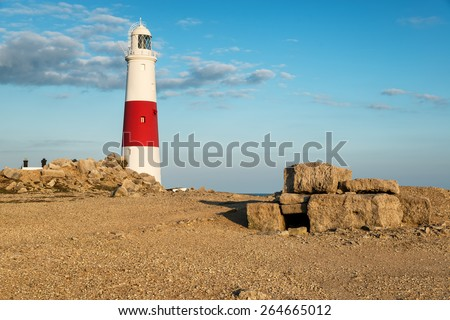 The lighthouse at Portland Bill near Weymouth on Dorset's Jurassic Coast - stock photo