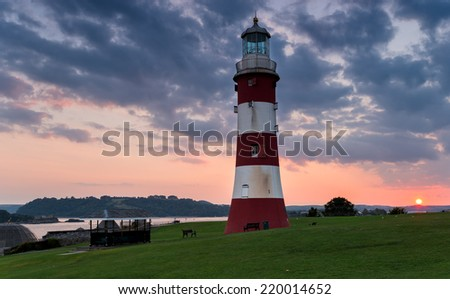 The lighthouse at the Hoe in Plymouth, Devon - stock photo