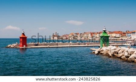 the lighthouse in city Piran - Slovenia - stock photo