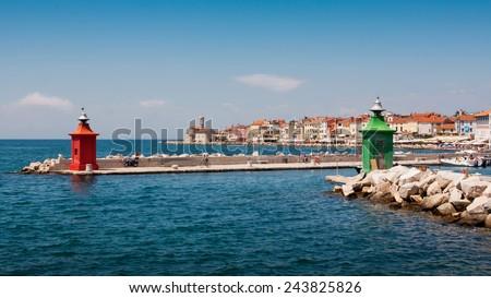 the lighthouse in city Piran - Slovenia - stock photo